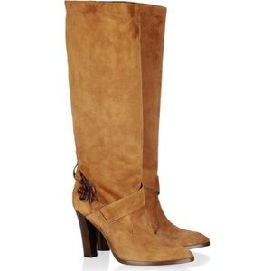 🎉HP🎉 DVF Brown Suede Rand Love Knot Heeled Boots
